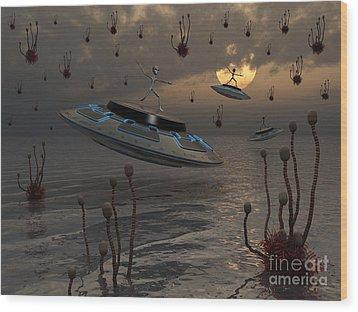 Aliens Celebrate Their Annual Harvest Wood Print by Mark Stevenson