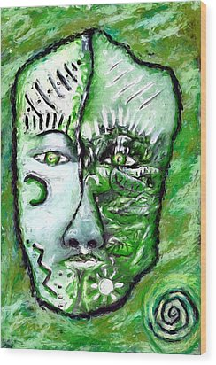 Wood Print featuring the painting Alive A Mask by Shelley Bain