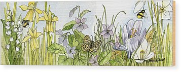 Wood Print featuring the painting  Alive In A Spring Garden by Laurie Rohner