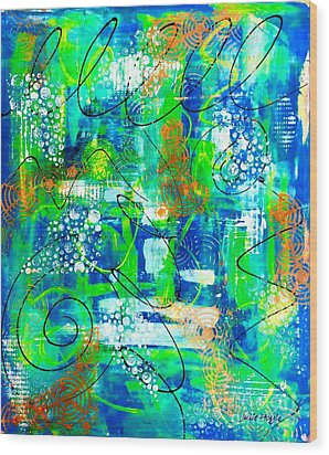 All A Whirl Wood Print by Julie Hoyle