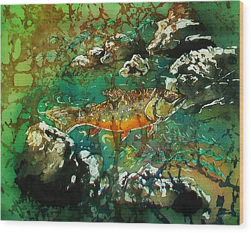 All About Trout Wood Print by Sue Duda