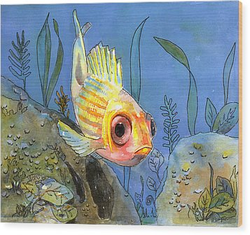 All Alone - Squirrel Fish Wood Print by Arline Wagner