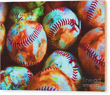 All American Pastime - Pile Of Baseballs - Painterly Wood Print by Wingsdomain Art and Photography