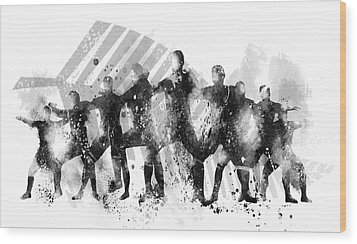 All Blacks Haka Wood Print by Marlene Watson