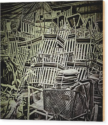 Wood Print featuring the photograph All Piled Up by Lewis Mann