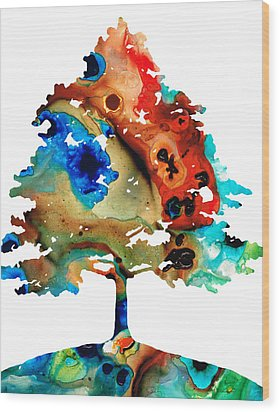 All Seasons Tree 3 - Colorful Landscape Print Wood Print by Sharon Cummings