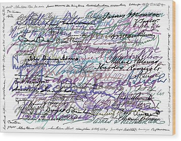 All The Presidents Signatures Blue Rose Wood Print by Tony Rubino