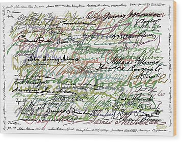 All The Presidents Signatures Green Sepia Wood Print by Tony Rubino