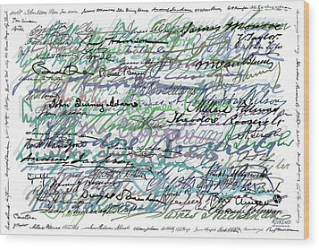 All The Presidents Signatures Teal Blue Wood Print by Tony Rubino