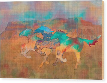 Wood Print featuring the digital art All The Pretty Horses by Christina Lihani