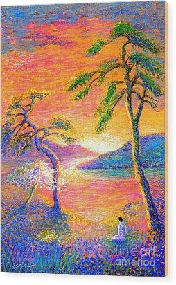 Buddha Meditation, All Things Bright And Beautiful Wood Print by Jane Small