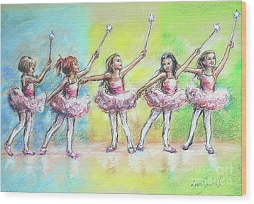All Together Now...first Ballet Recital Wood Print by Laurie Shanholtzer