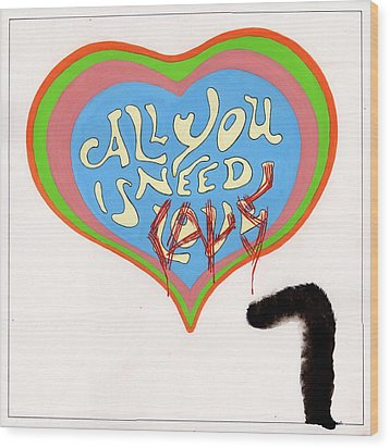 Wood Print featuring the painting All You Need Is Cats by Marc Philippe Joly