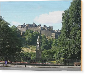 Allan Ramsay Statue And Edinburgh Castle Wood Print by Keith Stokes
