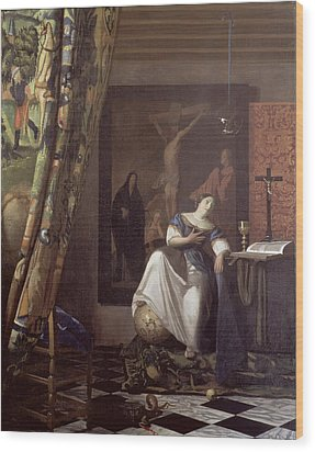 Allegory Of The Faith Wood Print by Jan Vermeer
