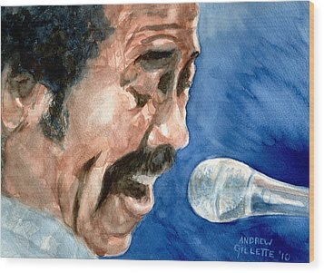 Wood Print featuring the painting Allen Toussaint by Andrew Gillette