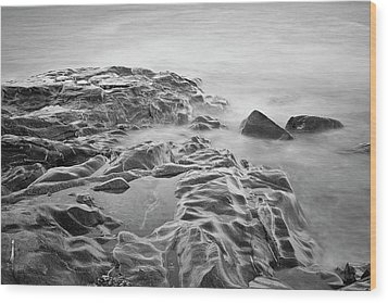 Wood Print featuring the photograph Allens Pond Xviii Bw by David Gordon