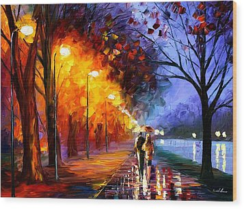 Alley By The Lake Wood Print by Leonid Afremov