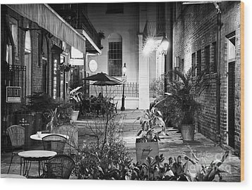 Alley Dining Wood Print by John Rizzuto