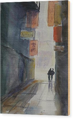 Alley In Chinatown Wood Print