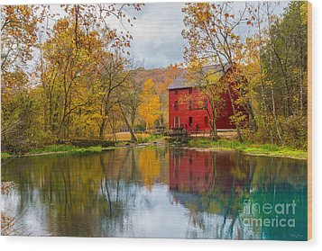 Alley Mill And Spring Wood Print by Jennifer White