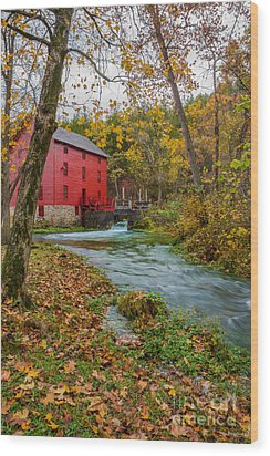 Alley Mill In Autumn Wood Print by Jennifer White