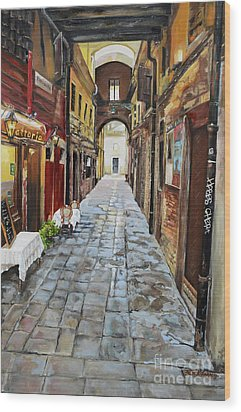 Wood Print featuring the painting Alley On Parangon In Venice by Jan Dappen