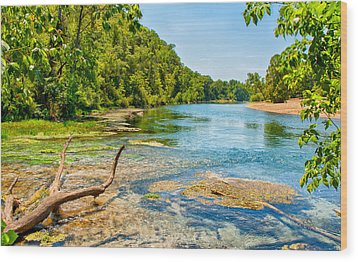 Wood Print featuring the photograph Alley Springs Scenic Bend by John M Bailey