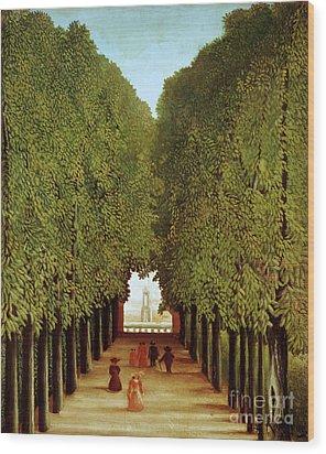 Alleyway In The Park Wood Print by Henri Rousseau