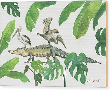 Alligator And Pelicans Wood Print by Juan Bosco