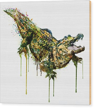 Alligator Watercolor Painting Wood Print by Marian Voicu
