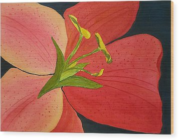 Almost A Tiger Lily Wood Print by Joan Zepf