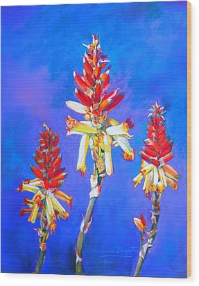 Aloe Flower Spike Wood Print