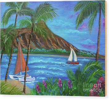 Aloha Diamond Head Wood Print by Jenny Lee