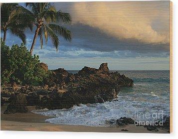 Aloha Naau Sunset Paako Beach Honuaula Makena Maui Hawaii Wood Print by Sharon Mau