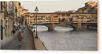 Along The Arno Wood Print by Joe Bonita