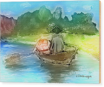 Along The Banks Of Hanoi Wood Print by Arline Wagner
