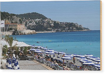 Along The Beach In Nice Looking Over Toward Monaco Wood Print by Rod Jellison