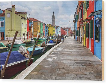 Along The Canal In Burano Island Wood Print by Evgeni Dinev