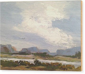 Wood Print featuring the painting Along The Columbia by Helen Harris