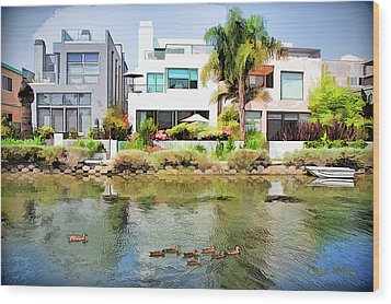 Wood Print featuring the photograph Along The Venice Canals by Chuck Staley