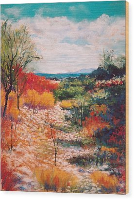 Wood Print featuring the painting Along The Wash by M Diane Bonaparte