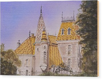 Wood Print featuring the painting Aloxe Corton Chateau Jaune by Mary Ellen Mueller Legault