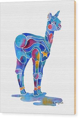 Alpaca Cria Heartz N Starz Wood Print by Jo Lynch