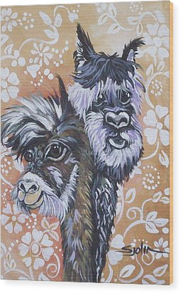 Alpaca Do-bee  Brothers Wood Print by Patty Sjolin