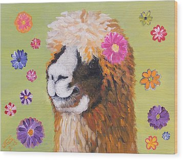 Alpaca Hippie Wood Print