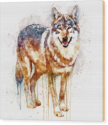 Alpha Wolf Wood Print by Marian Voicu