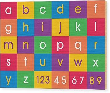 Alphabet Colors Wood Print by Michael Tompsett