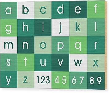 Alphabet Green Wood Print by Michael Tompsett