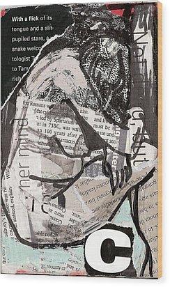 Alphabet Nude C Wood Print by Joanne Claxton